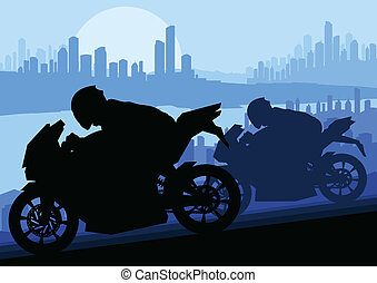 Motorbike riders motorcycle background illustration vector
