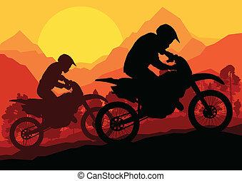 Motorbike riders motorcycle silhouette