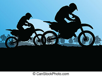 Motorbike riders motorcycle silhouettes in wild forest mountain nature landscape background illustration vector