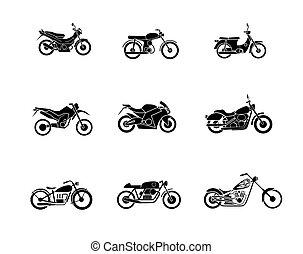 motorbike silhouette icons set