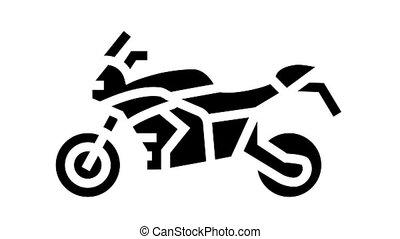 motorbike transport animated glyph icon. motorbike transport sign. isolated on white background