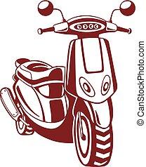 motorbike., vektor, ilustrace, osamocený, dále, white.