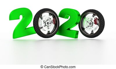 Motorbike Wheels 2020 design in Infinite Rotation on a White...