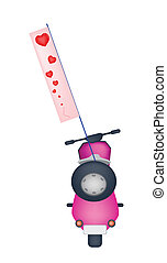 Motorbike with A Love Flag on White Background