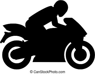 Motorbike with driver silhouette