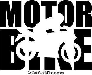 Motorbike word with cutout silhouette