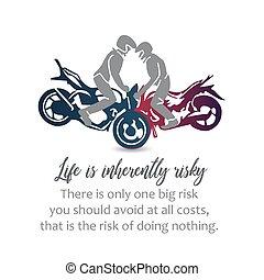 Motorbikers performing stunts- Biker inspirational quotes