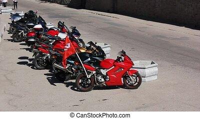 motorbikes on street/ motorcycles on street