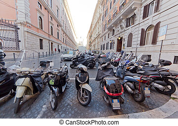 Motorbikes on the strees of Rome