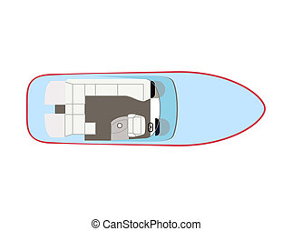 Motorboat - Blue motorboat on isolated background