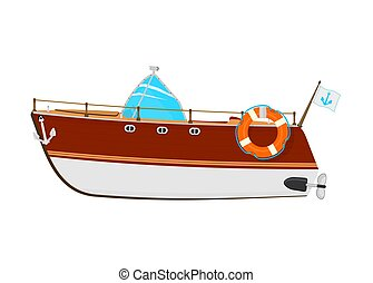 Motorboat. Cartoon power boat on a white background. Side ...