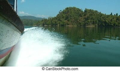 Motorboat Churning Water, Temenggor Lake, Perak - Close-up...