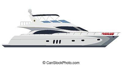 Motorboat - Cruising motor yacht on white background