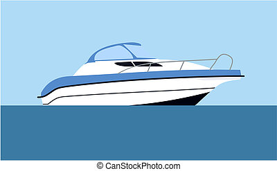 Motorboat - Cruising motor yacht on blue background