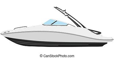 Motorboat - Motor boat on a white background