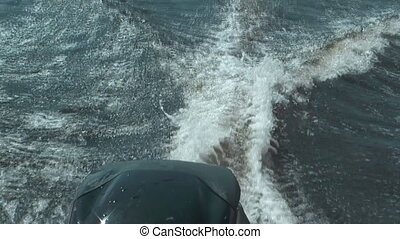 Motorboat. - HD 1080 close up shot of motorboat wake.