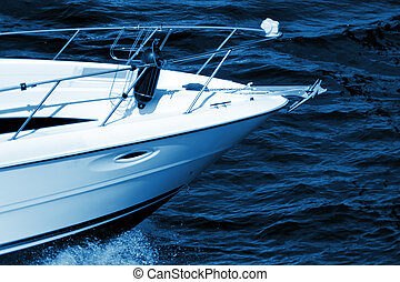 Motorboat - High speed motorboat rushing at the sea