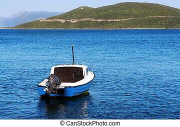 Motorboat in the bay