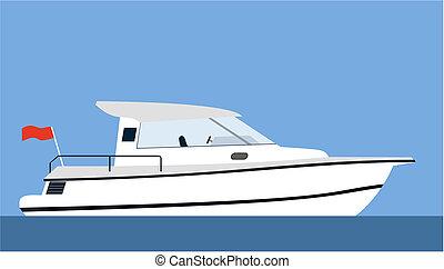 Motorboat - Motor yacht on blue background