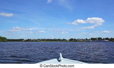 Motorboat. - Motorboat travel on river.
