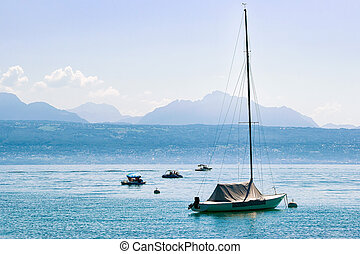 Motorboat on Lake Geneva in Lausanne