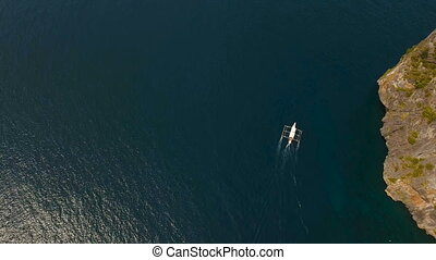 Motorboat on the sea, aerial view.