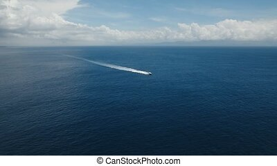 Motorboat on the sea, aerial view. Bali, Indonesia - Aerial...