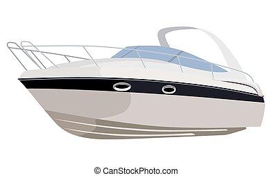 Motorboat - White motorboat on white background