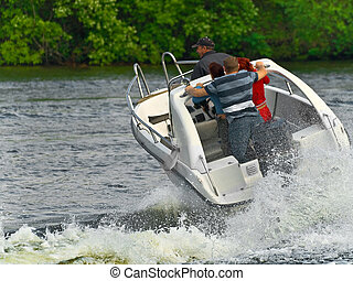 motorboat with the passengers