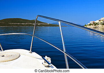 Motorboat yacht on Adriatic Sea