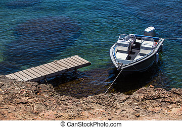 motorboot, aus, kueste
