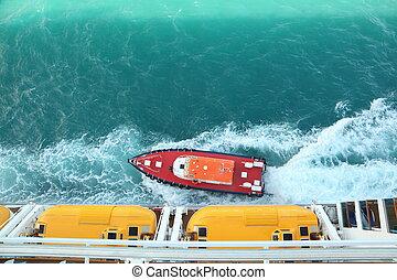 motorboot, bei, segeltörn, ship., ansicht, von, deck, von, segeltörn, ship.