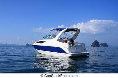 motorboot, nga, phang, bucht