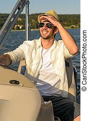 motorboot, sonnig, junger, navigieren, mann