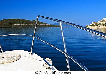 motorboot, yacht, auf, adriatisches meer