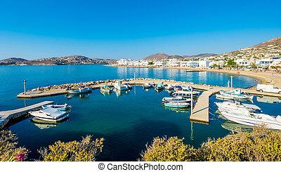 motorboten, en, vissersboten, verankeerd, in, haven