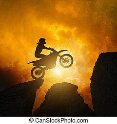 motorcircle, reiter, in, steinen