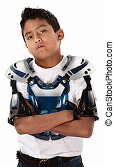 Motorcross Biker Stare-down - Young Mexican-American boy...