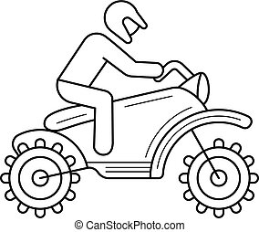 Motorcross line icon. - Cross motorcycle vector line icon...