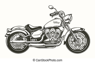 motorcycle., årgång, hand-drawn, chopper., klassisk