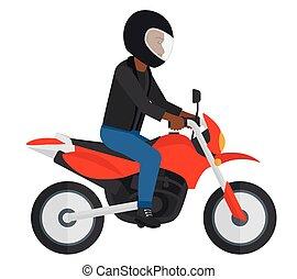 motorcycle., équitation, homme