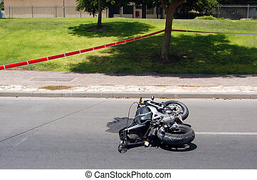 Motorcycle Accident - A Motorbike accident on a road is...