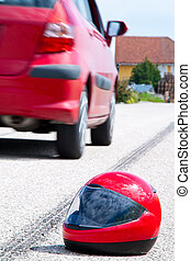 Motorcycle accident. Traffic accident - An accident with a...