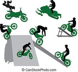 motorcycle., acrobatie, exposition