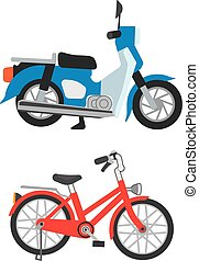 motorcycle and bicycle which stops
