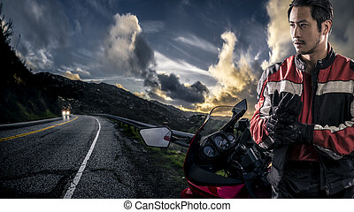 Motorcycle and Biker on Road