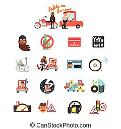 Motorcycle and Car Safety Drive Rules. Vector Illustration...