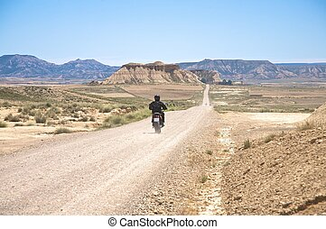 motorcycle at desert road