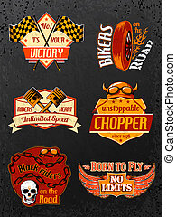 Motorcycle bike badges set with piston helmet and wheel...