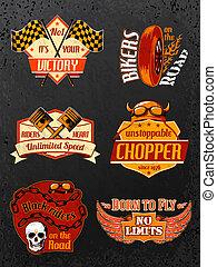 Motorcycle bike badges set with piston helmet and wheel ...